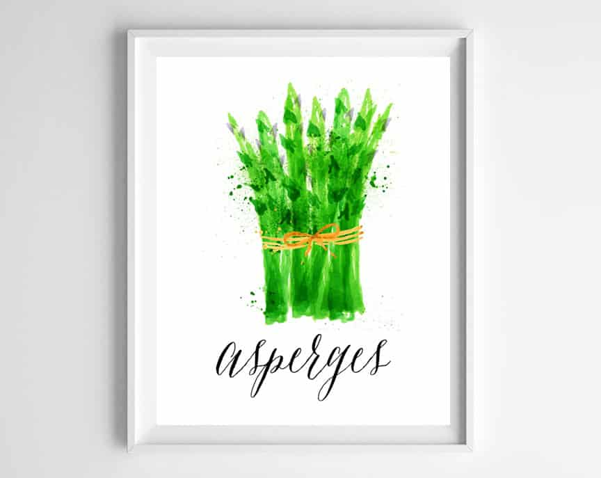 watercolor asparagus printable