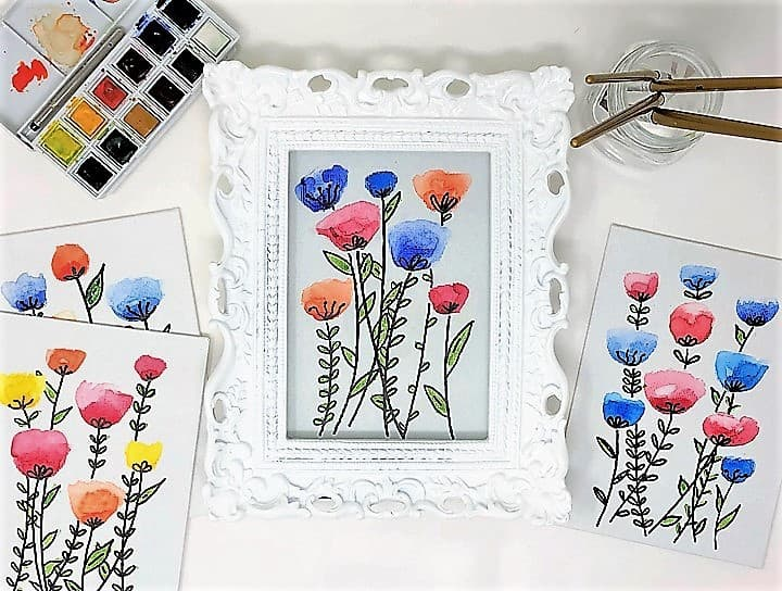 canvas with watercolor flowers 4