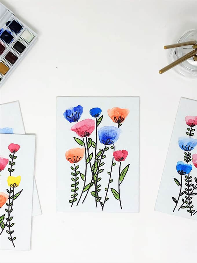canvas with watercolor flowers