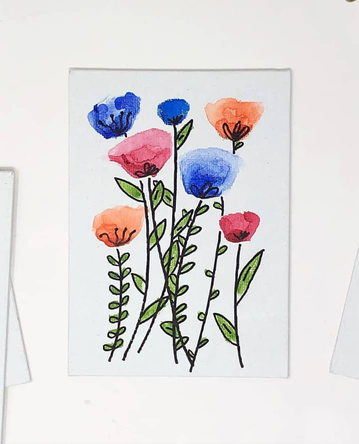 canvas with watercolor flowers 2