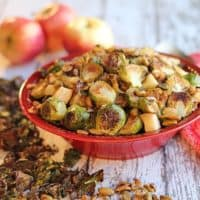 Roasted Brussels sprouts with apples and caramelized onions