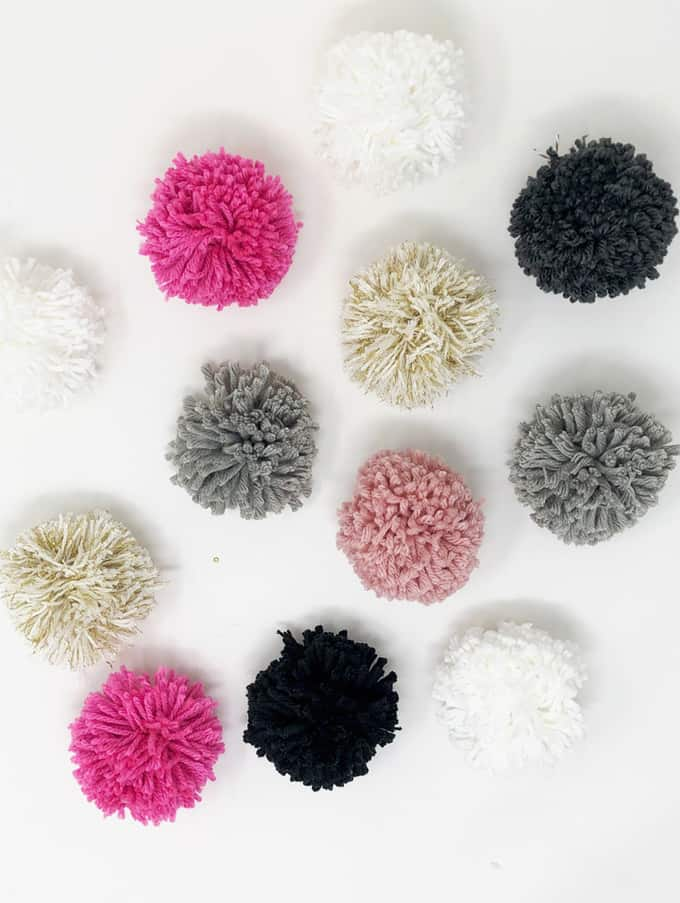 assortment of pom poms