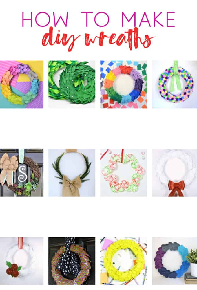 collage of diy wreaths