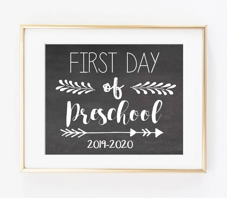 picture about Last Day of Preschool Sign Printable named Absolutely free Very first Working day of College or university Printable Symptoms (2019-2020)