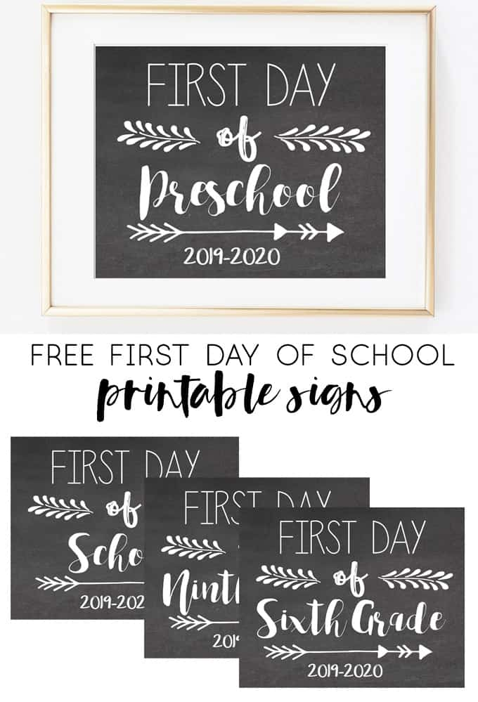 photo regarding Last Day of Preschool Sign Printable named Absolutely free To start with Working day of College or university Printable Signs and symptoms (2019-2020)