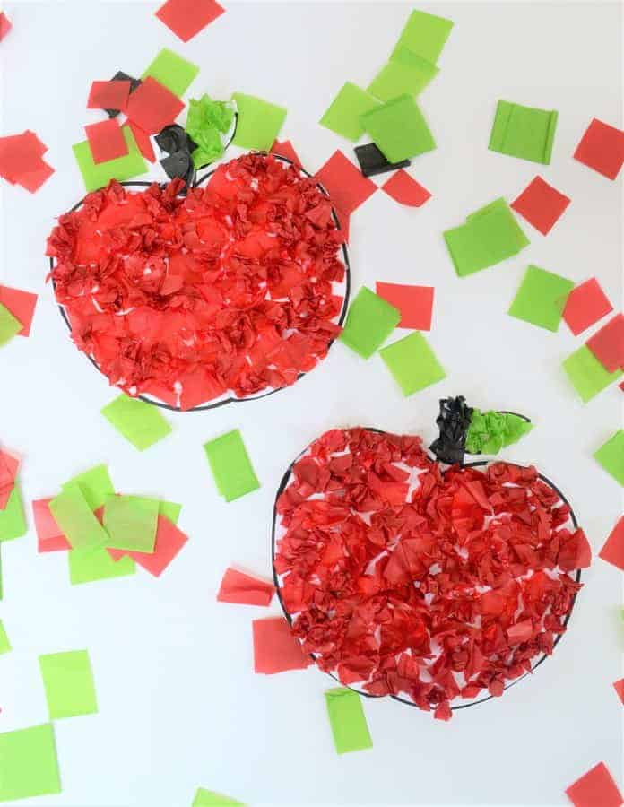 tissue paper apple craft