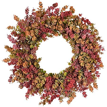 20 inch Fall Wreath Front Door Wreath Eucalyptus Wreath Harvest Autumn Wreath for Front Door Wedding Wall Home Thanksgiving Decor