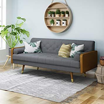 Christopher Knight Home 305139 Aidan Mid Century Modern Tufted Fabric Sofa, Gray