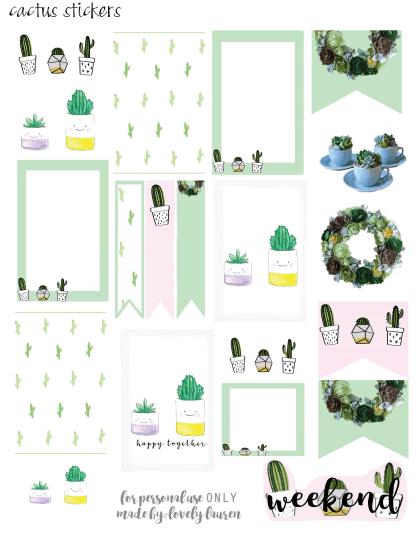 Cactus Stickers- FREEDownload