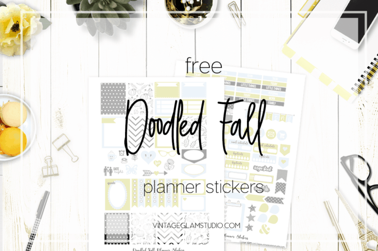 Doodled Fall Planner Stickers Printable