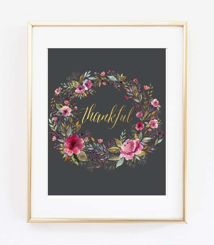 thankful wall art printable in frame