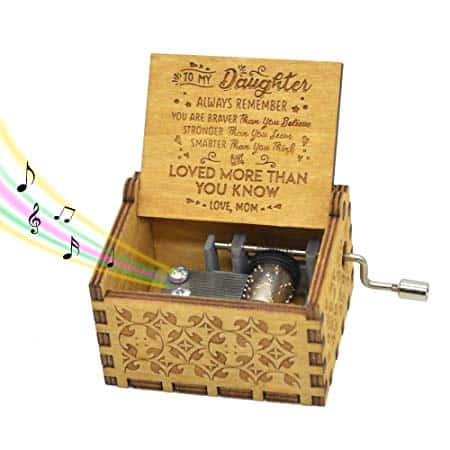 Hand Crank Music Box for Daughter Gifts from Mom, Plays The Tune You are My Sunshine Unique Gifts for Daughter Vintage Engraving Wooden Music Box (for Daughter)