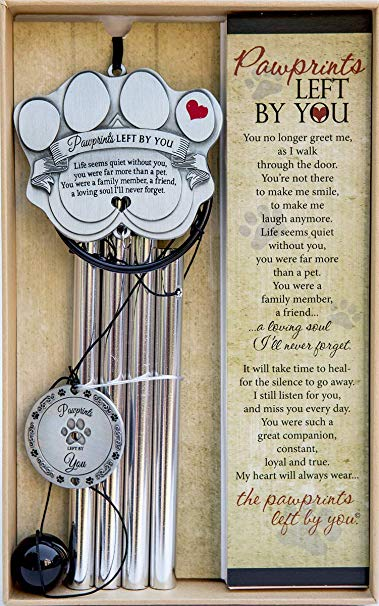 """Pet Memorial Wind Chime - 18"""" Metal Casted Pawprint Wind Chime - A Beautiful Remembrance Gift For a Grieving Pet Owner - Includes """"Pawprints Left By You"""" Poem Card"""