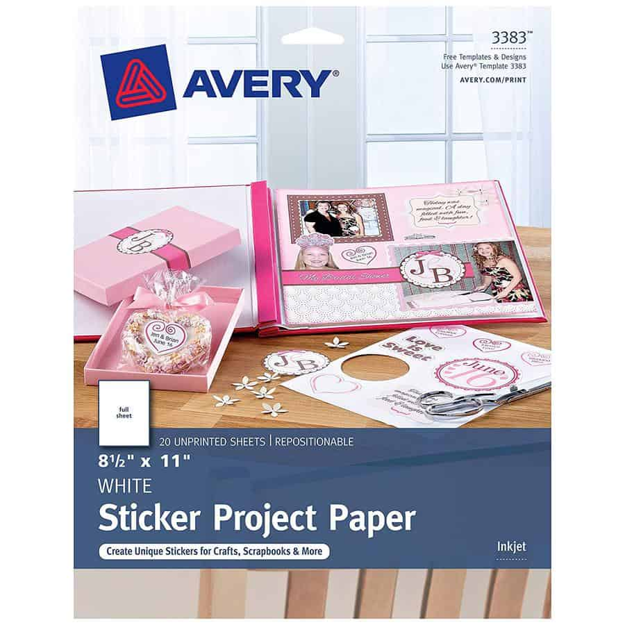 sticker paper avery