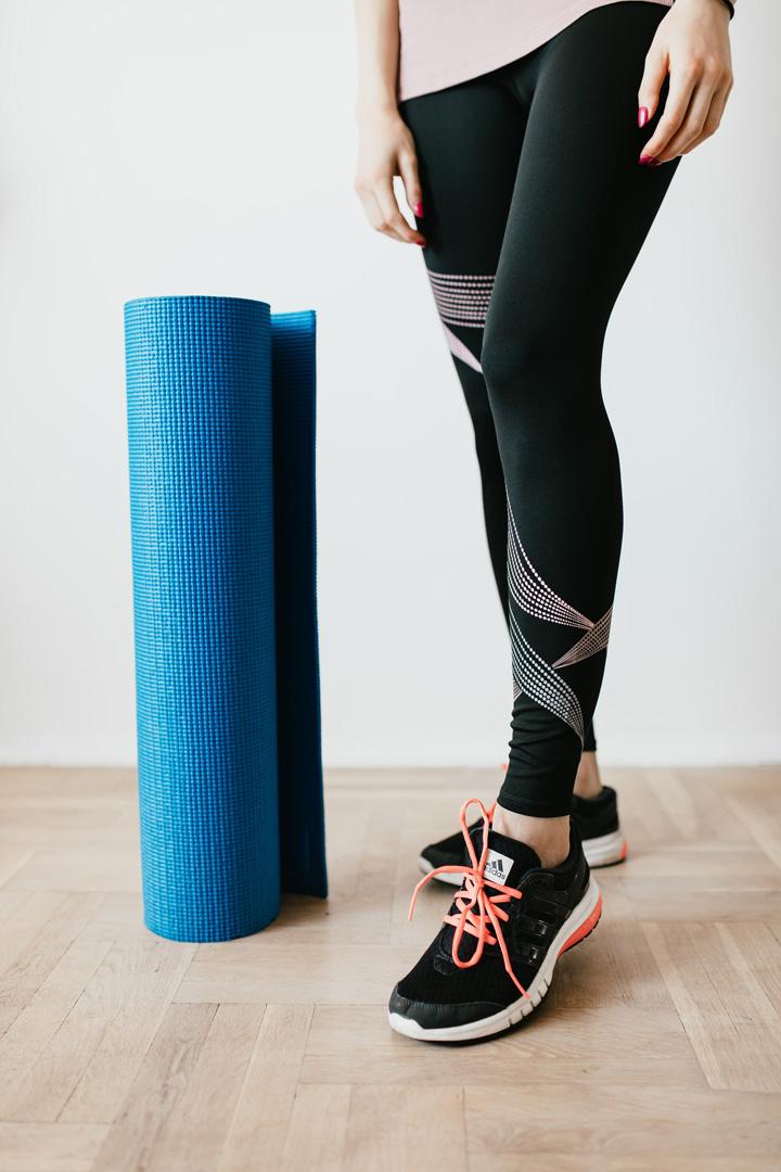 yoga mat girl in sneakers