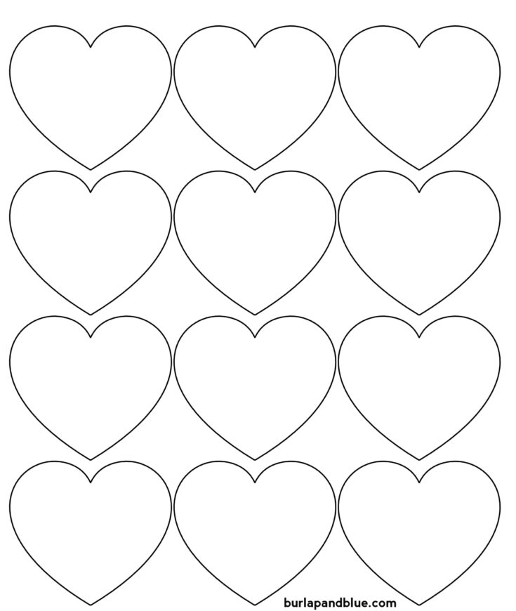 small hearts outline printable